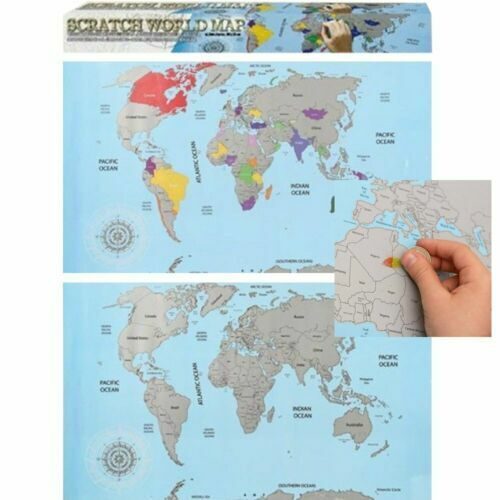 Personalised Scratch Off World Map Scratching Poster Portable Travel Log 7460