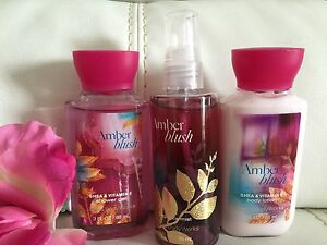 Lot-3-Bath-amp-Body-Works-Amber-Blush-Body-Lotion-Mist-amp-Shower-Gel-Travel-Set