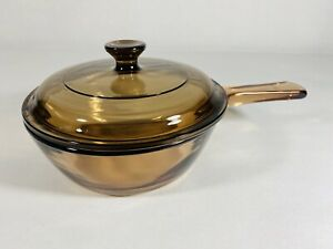 Corning-Ware-Visions-Pyrex-Amber-Brown-Glass-5-Liter-Small-Sauce-Pan-amp-Lid