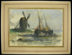 Mill-and-Sailboats-Stranded-Holland-Watercolour-Original-Signed-in-Determine