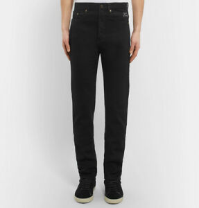 9164a145a01 NWT $890 SAINT LAURENT Skinny-Fit 17cm Hem Embroidered Stretch-Denim ...
