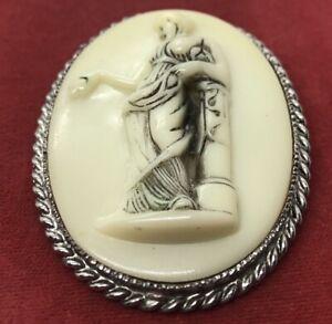 Vintage-Brooch-Pin-Cameo-Marble-Roman-Portrait-Silver-Tone