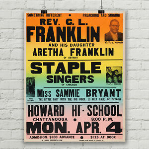 Aretha Franklin Concert Poster Queen of Soul Howard High School Canvas Print