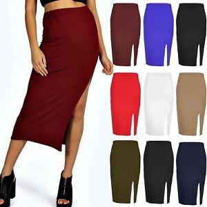e1ac799a5c7a7 Details about Womens Side Split Midi Skirt Ladies Casual Pencil Slit  Stretch Bodycon Plus Size