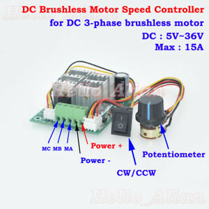 15A 3-Phase Brushless Motor Speed Controller DC 5V-36V CW CCW Reversible Switch