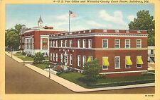 Linen Postcard; U.S. Post Office & Wicomico County Court House, Salisbury MD