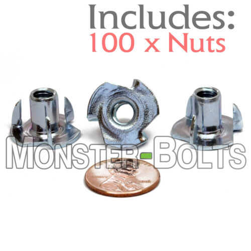 "4 Prong T-Nut 1//4/""-20 x 5//16/"" Tee Nut Plain Steel FREE SHIPPING Qty 100 HF"