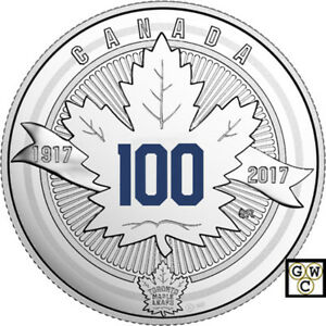 2017 $3 '100th Ann. of the Toronto Maple Leafs'Pure Silver Coin .9999Fine(18274)