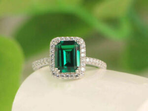 3ct-Emerald-Cut-Green-Emerald-amp-Diamond-Engagement-Ring-14K-White-Gold-Finish