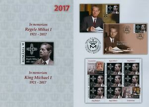 Rumanien-2017-NEU-Memoriam-Konig-Michael-Mihai-Hohenzollern-Marke-Zf-Block-FDC