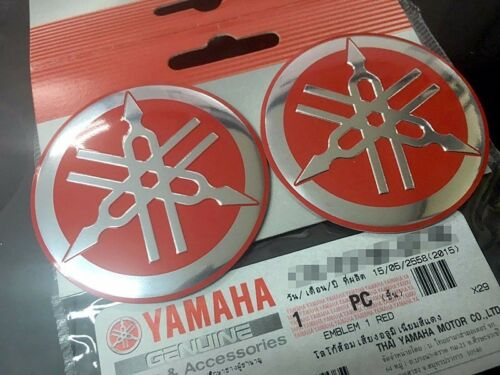 RED YAMAHA GENUINE 55 MM 3D ALUMINIUM TUNING FORK LOGO DECAL EMBLEM STICKER YZF