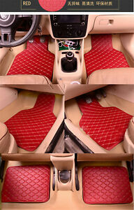4pcs-Red-PU-Leather-Universal-Auto-Car-Floor-Mats-Front-Rear-Liner-Weather-Set