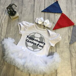 MANCHESTER FOOTBALL TUTU ROMPER Gold Glitter Football White Cutest Fan Red Dress