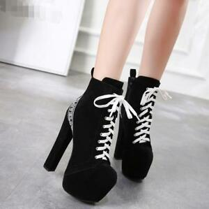Womens-Super-High-Heel-Chunky-Ankle-Boots-Suede-Lace-Up-Platform-Shoes-Ths01