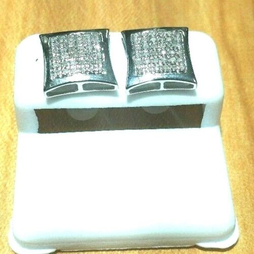 total Carat peser 0.10-0.75 Solid Homme 10K or Blanc Micro-Pave Boucles d/'oreilles Genuine Diamond