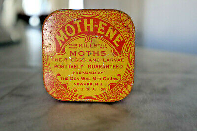 NOS Vintage ADVERTISING MOTHENE MOTH KILLER TIN Qty 1 Litho metal box
