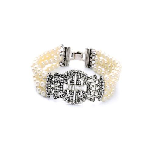 Silbernes Uhrenband Multirank Perle Art Deco Blume Retro Vintage Original CT4