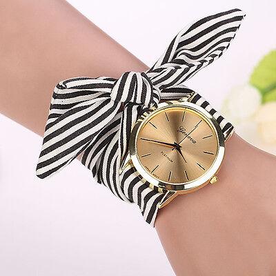 Fashion Women Watch Casual Stripe Floral Cloth Band Quartz Wrist Watch Bracelet