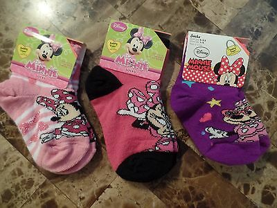 NEW baby girls DISNEY MINNIE MOUSE SOCKS shoe size 1-5 stretchy SAFETY TOES gift