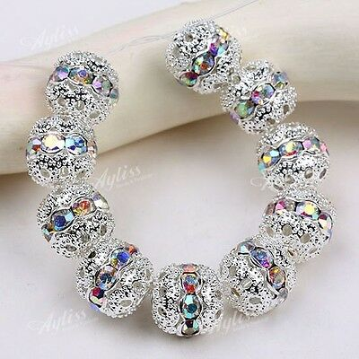 10pc Silver Plated Crystal Glass Spacer Finding Charms Loose Ball Beads DIY 10mm
