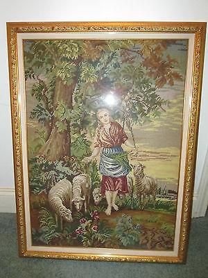 "Large Vintage Shepherd Girl and Sheep Needlepoint Framed 25"" x 32"""