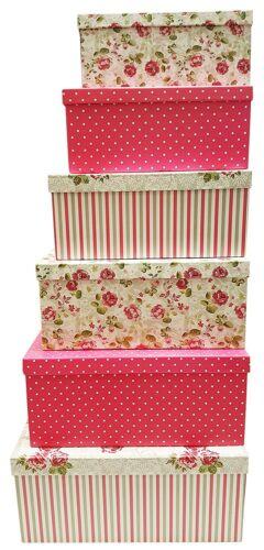 Lot de 6 Alef élégant décoratif thème Extra Large Nesting Boîtes-cadeaux