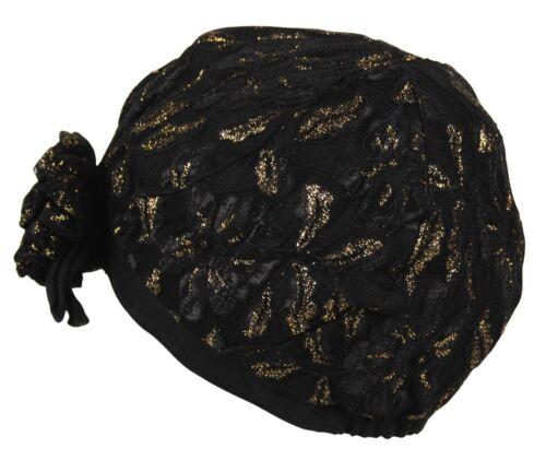 Merdi Co Plain Peak Cloche Lined Cap Hat Lace Crochet Flower Bow Glitter