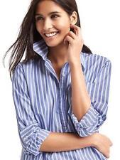 nwt gap boyfriend stripe popover tunic top  buttoned shirt blouse blue small S