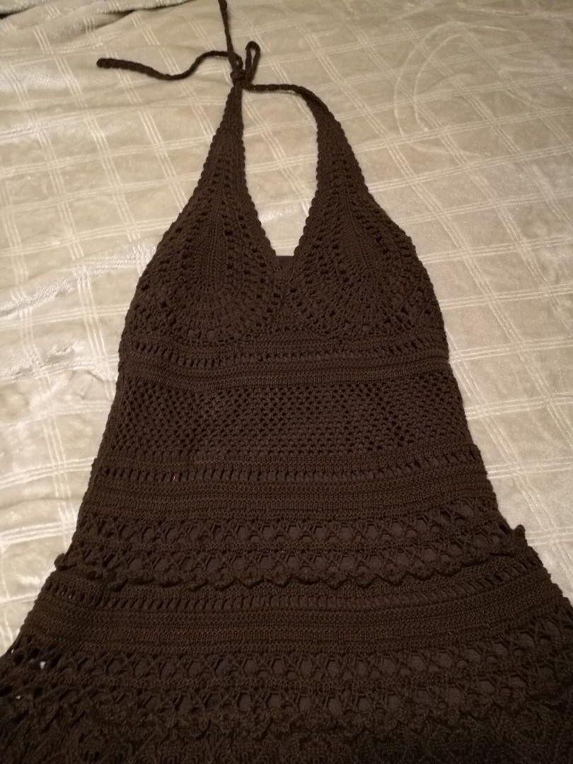 Brand New  Victoria's Secret BOHO crochet chocolate brown dress Size Small