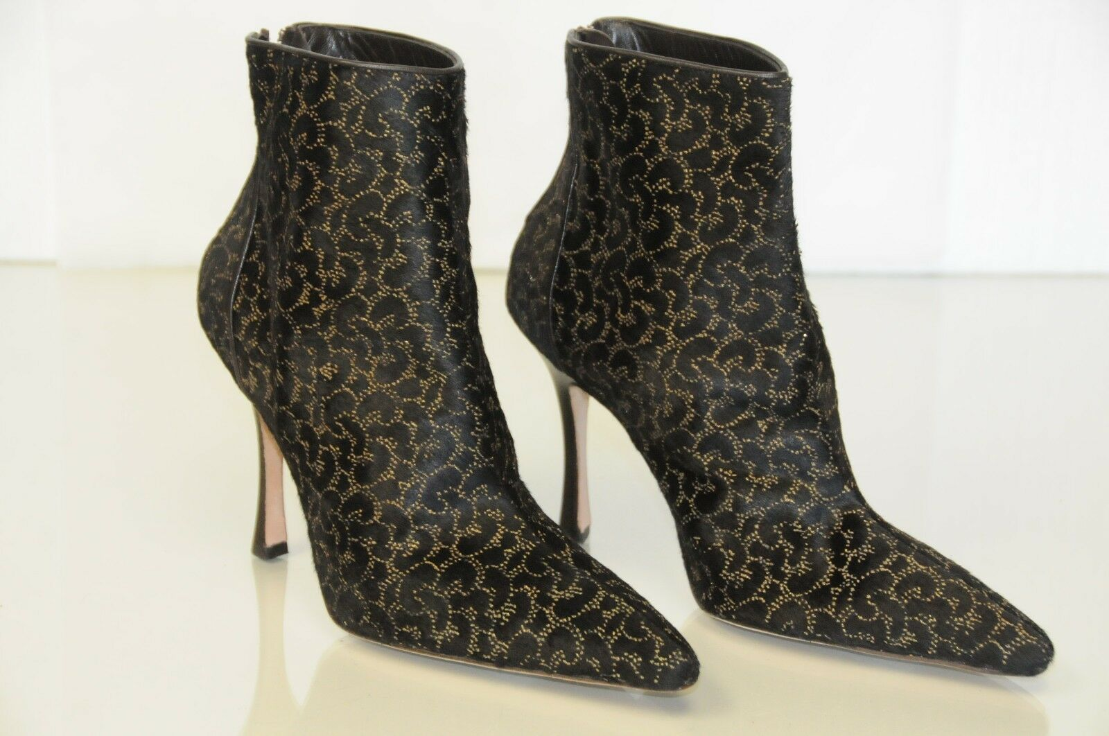 1495 NEW MANOLO BLAHNIK BB ANKLE Stiefel Stiefel Stiefel HAIR PONY Dark braun Gold schuhe 37 0a7003