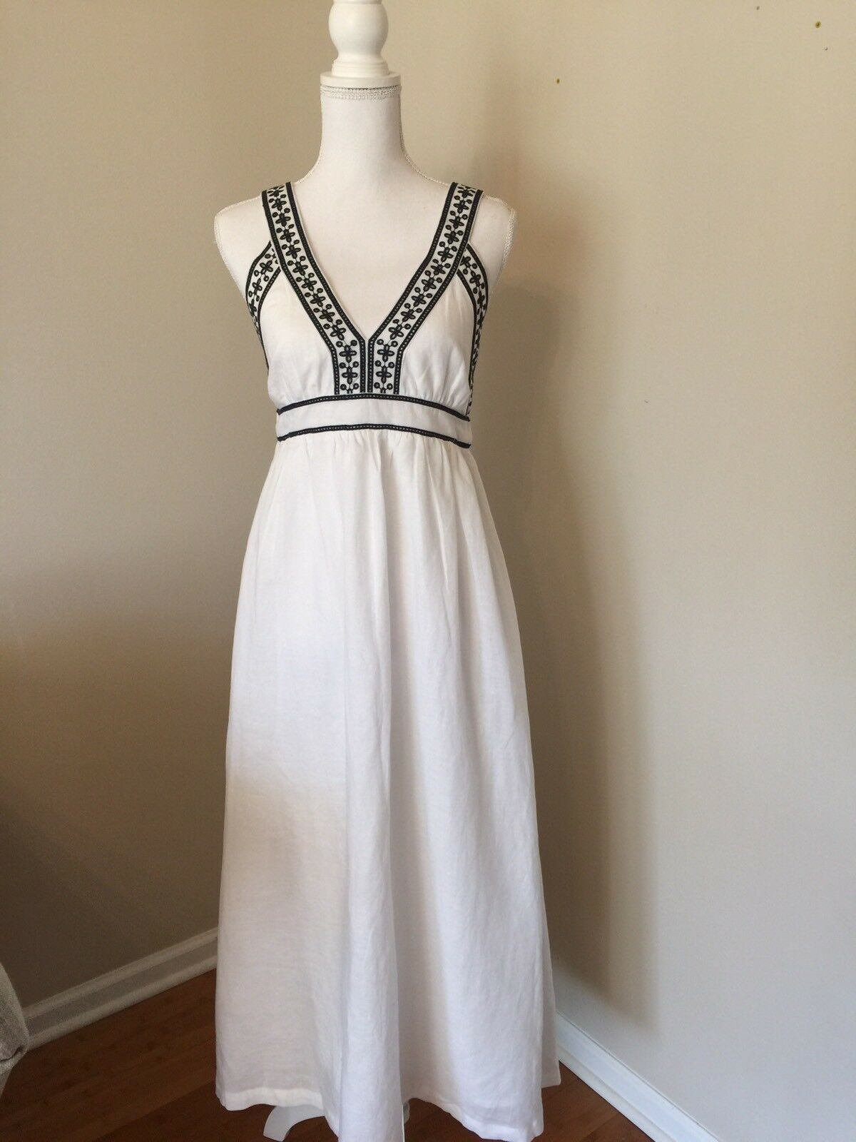 J.CREW NWT  Embroiderot Lined Cross Back Maxi Dress Sz S G6494 Weiß