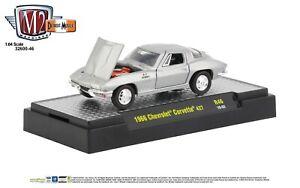 1-64-M2-Machines-Detroit-Muscle-R46-Silver-1966-Chevrolet-Corvette-427-NIB