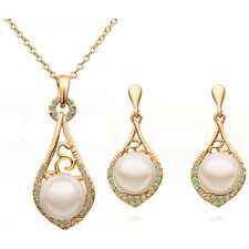 Vintage Wedding Queen Jewellery Set Gold White Pearls Necklace & Earrings S605