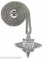 Allah 7 Moon Star Iced Out Pendant & 36 Inch Cuban Style 6 Mm Necklace