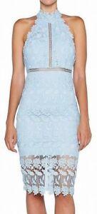 Bardot Women's Dress Blue Size XS Sheath Floral Mock Neck Halter $119 #141