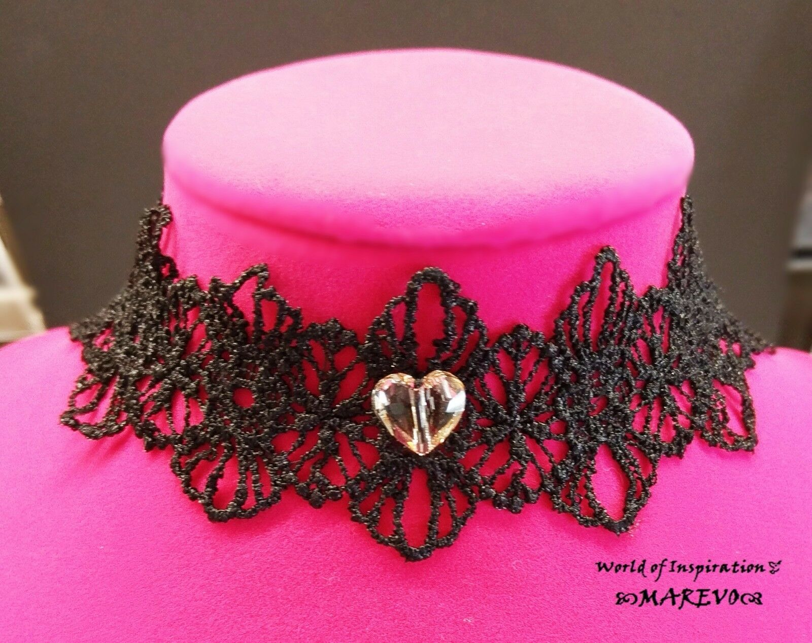 SEXY BROWN CRYSTAL HEART LACE FLOWER CHOKER DECORATED W SWAROVSKI ELEMENT COLLAR