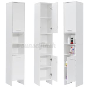 White Tall Bathroom Cabinet w/ 2 Doors 6 Shelves Storage ...