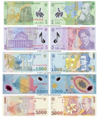 5 1000 5000 Lei 1998-2017 Set of 5 Banknotes 5 PCS UNC Romania 1 2000