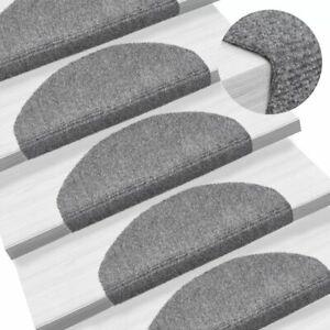 vidaXL-15x-Self-adhesive-Stair-Mats-Needle-Punch-65x21x4cm-Light-Grey-Rugs