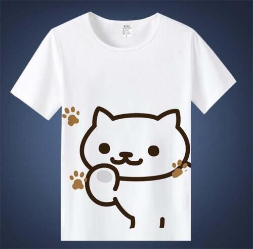 Fashion Short Sleeves Anime Lovely Neko Atsume White Summer Wear Vest T-shirt