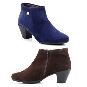Botines-Serraje-de-Piel-para-Mujer-Marron-Azul-Marino-Talla-35-36-37-38-39-40-41