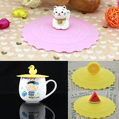 Anti-dust Lovely Cartoon Silicone Cup Cover Coffee Mug Suction Lid Cap Anti-dust