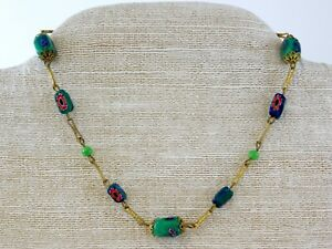 Vintage-Millefiori-Fused-Green-Glass-Choker-Necklace-Brass-Metal-Venetian-Italy