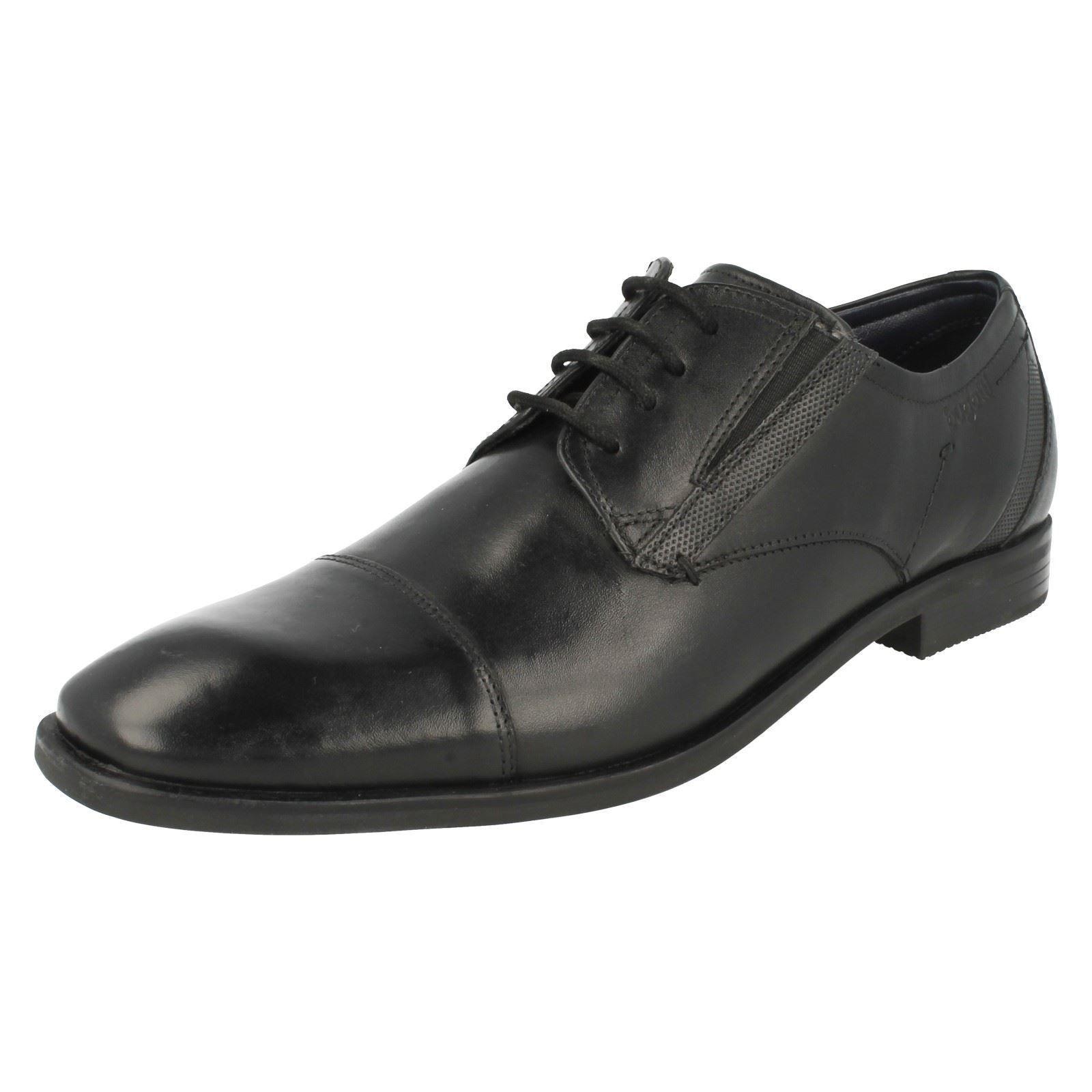 UOMO BUGATTI punta arrotondata stringate nero pelle formale casuale Scarpe classiche da uomo
