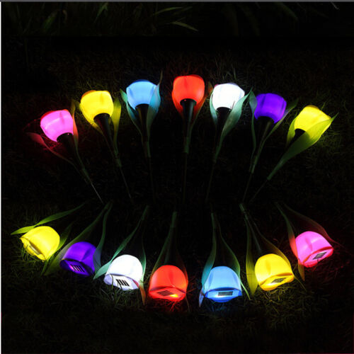Outdoor Solar Power Tulip Flower LED Light Yard Garden Lawn Path Xmas Lamp Lot
