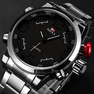 Luxus-Herren-Sport-Armbanduhren-Edelstahl-Analog-Quarz-Militaer-Watch-Wasserdicht