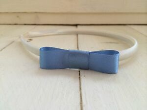Ivory-Satin-Alice-Band-Hairband-Headband-Dusky-Blue-Bow-Bridesmaid-Flower-Girl