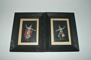 Vintage-Original-Painting-Balinese-Thai-Lakhon-Khol-Dancer-Pair-3-5-034-x-5-5-034