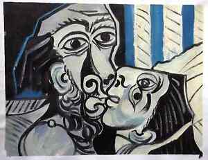 PABLO-PICASSO-HAND-PAINTED-OIL-after-Picasso-1969-THE-KISS-RARE-ART-VERSION