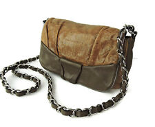 Coccinelle shoulder cross-body bag brown distressed leather braided chain  strap f30a12dda4ef4